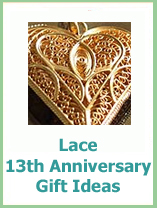 lace 13th anniversary gift ideas