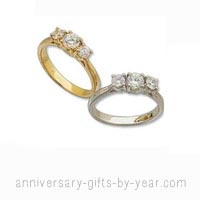 14k Gold 3 Diamond Anniversary Rings
