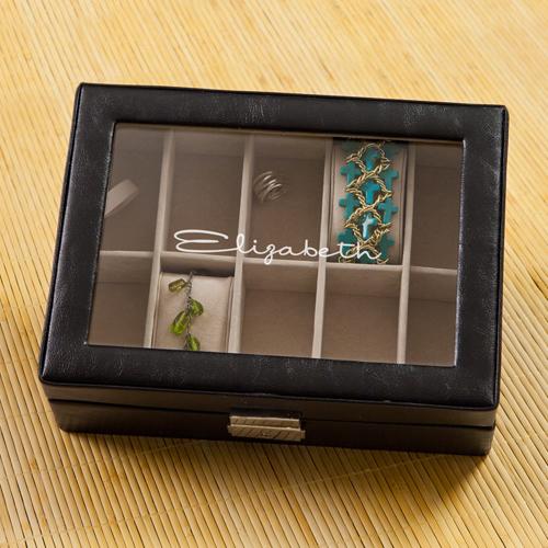 Personalized Leather anniversary jewelry box