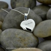 engraved silver heart locket