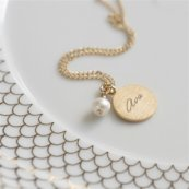 Personalized Gold and Pearl Necklace