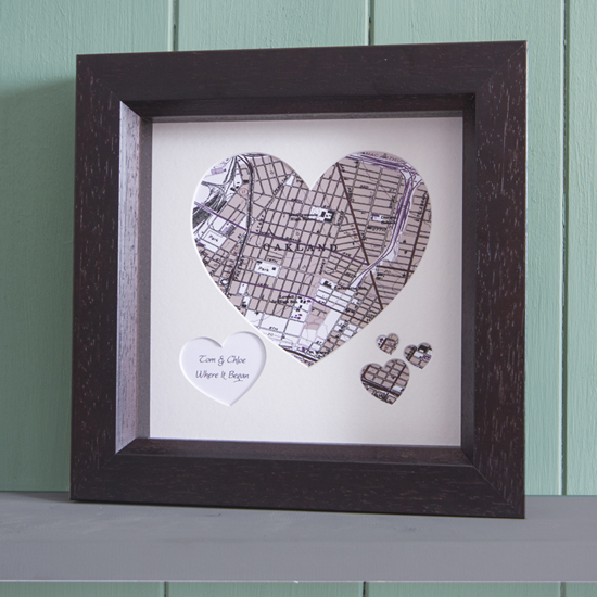 wooden anniversary heart map