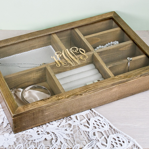 Personalized wooden anniversary jewelry box