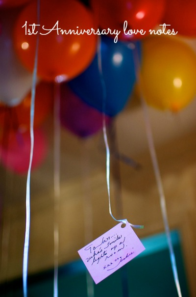 anniversary love note on a balloon