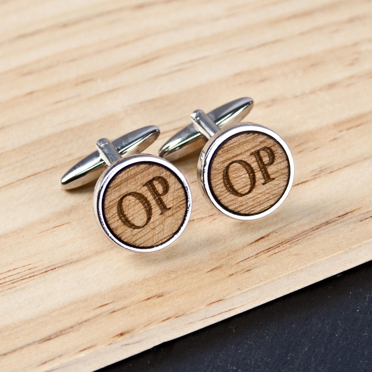 wooden anniversary cufflinks