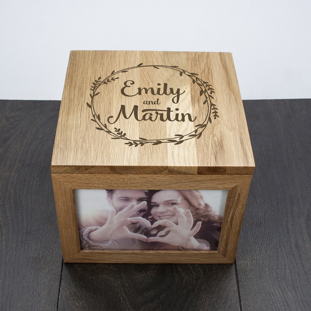 wooden anniversary photo box