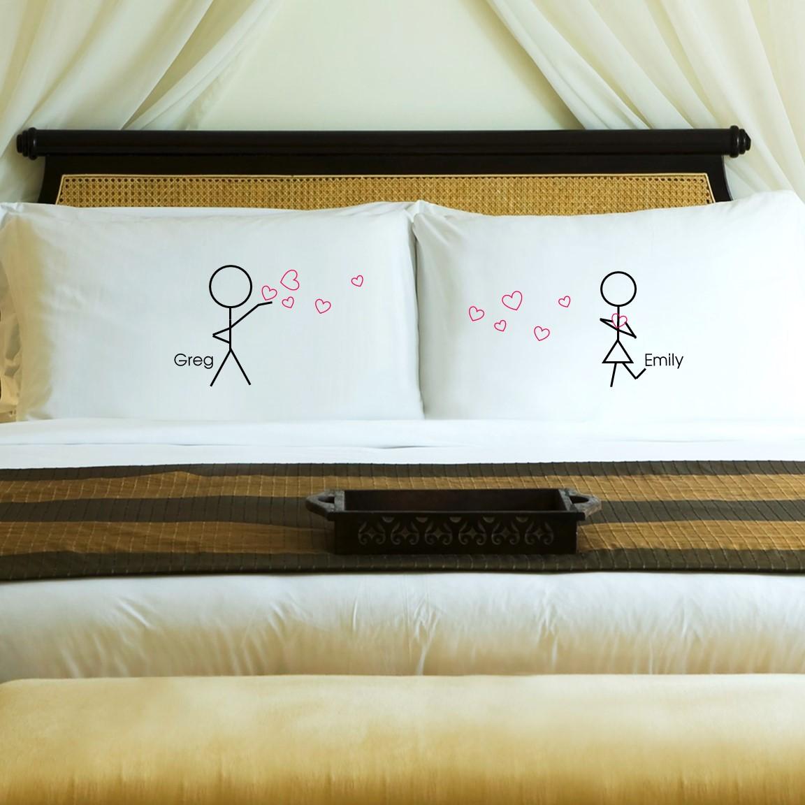 cute personalized cotton anniversary pillowcase