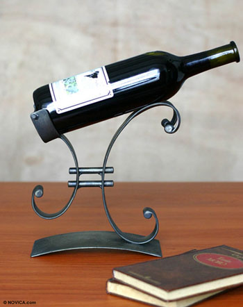 iron wine bottle holder