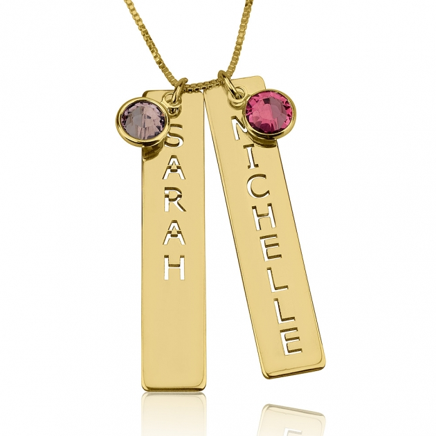 15th Wedding Anniversary Gold couple necklace