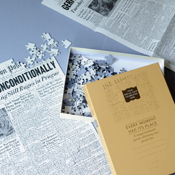 20th anniversary gift idea - front page from your wedding day as a jigsaw puzzle
