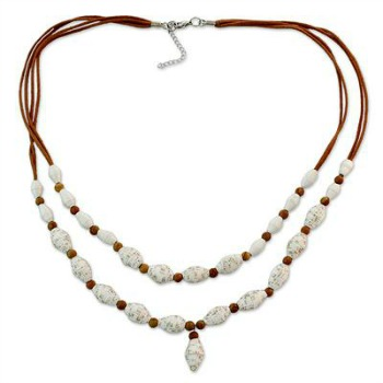 white and brown paper necklace