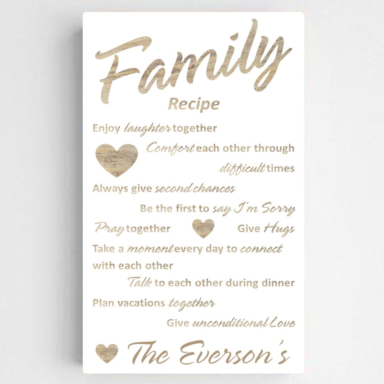 Anniversary gift after baby - family recipe canvas