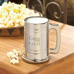 10 year anniversary gift - engraved metal beer mug