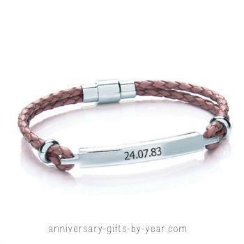 engraved anniversary gift - leather bracelet
