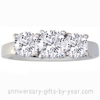 3 diamond white gold anniversary ring