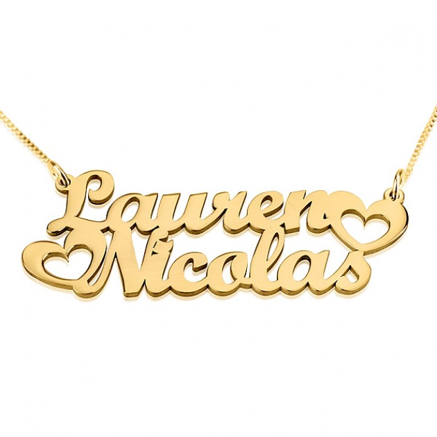 two name gold necklace