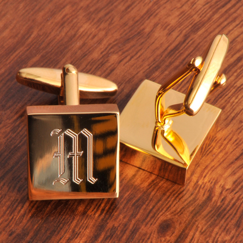 engraved initial brass cuff links