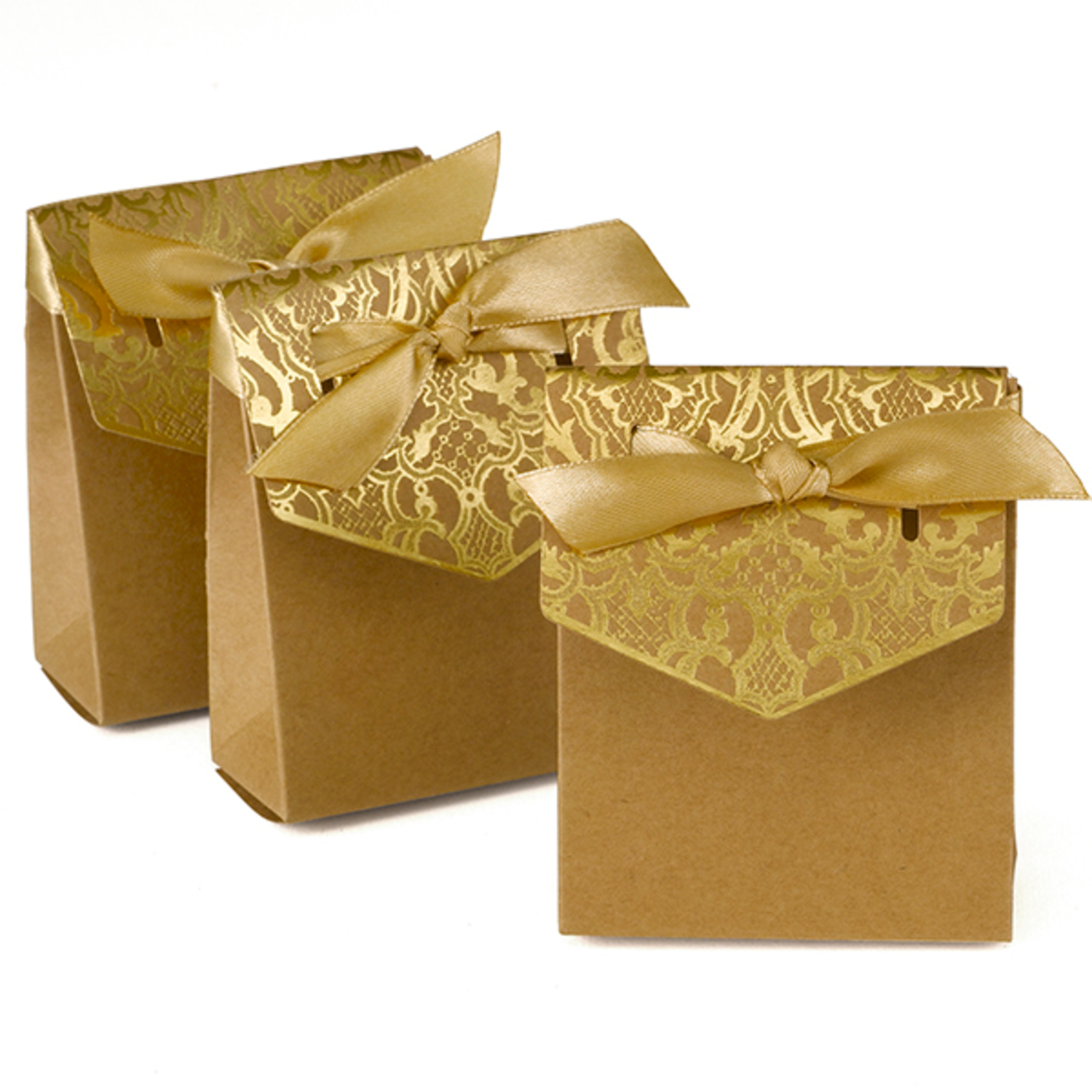 gold tented 50th anniversary favor boxes