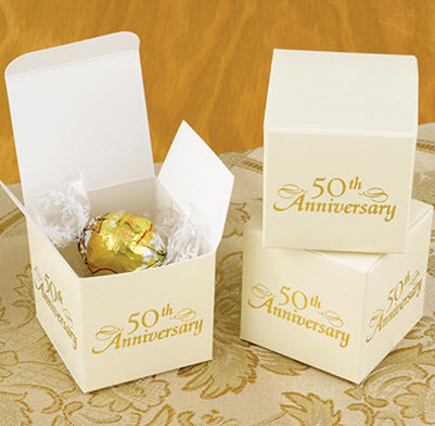 golden 50th anniversary favor boxes