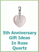 rose quartz 5 year wedding anniversary gift ideas