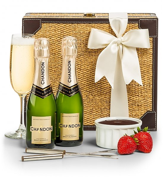 anniversary gift basket - champagne and chocolate fondue