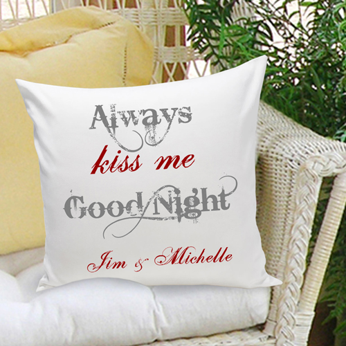 always kiss me goodnight pillows Personalized Pillows · romantic 2nd anniversary pillows