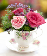 Pretty teacup table decoration
