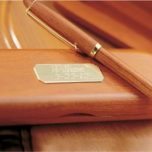 engraved wooden pen set