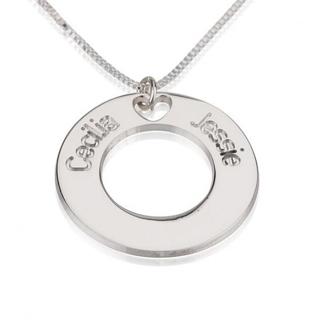 personalized silver anniversary couples necklace