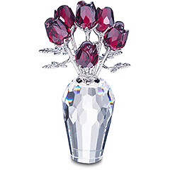 modern 30 year anniversary gift idea - ruby red crystal roses and crystal vase