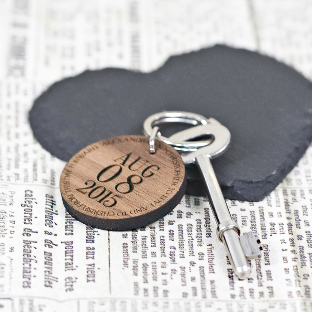 personalized wooden anniversary keyring