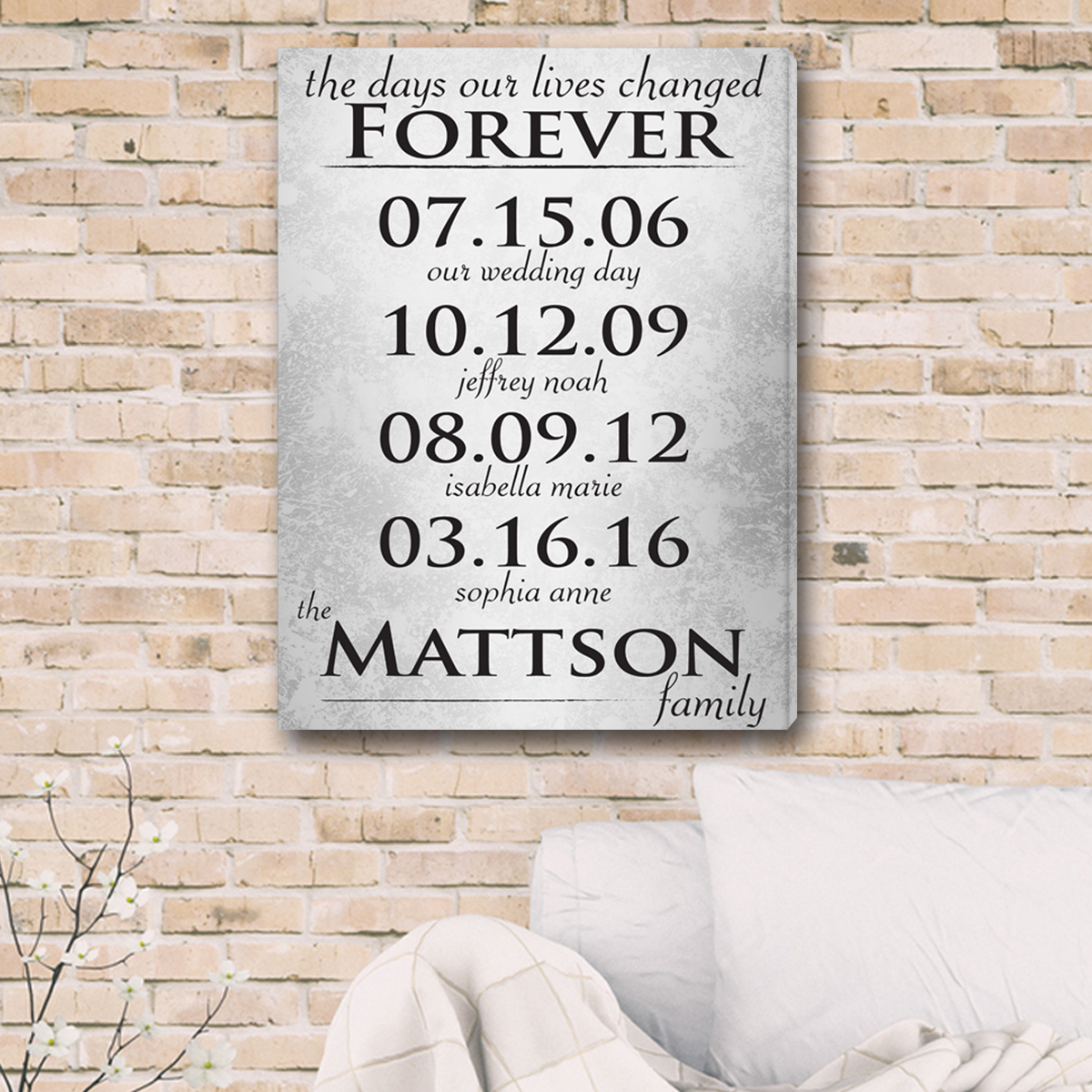 personalized family dates canvas