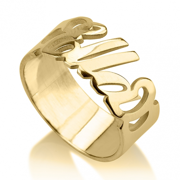 gold personalized name anniversary ring