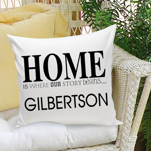 Home is where our story began - personalized pillow