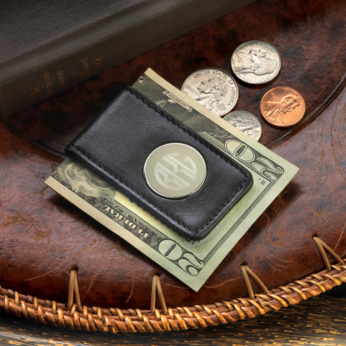 personalized leather money clip