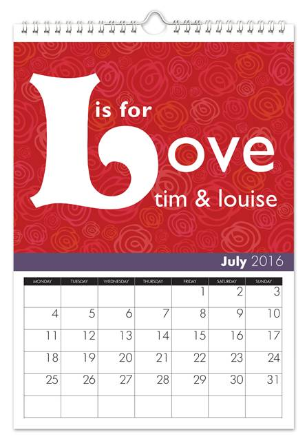 1st wedding anniversary personalized calendar