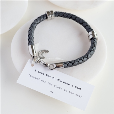 leather anniversary bracelet  Love you to the moon and back