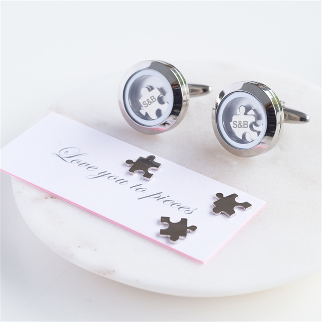 personalized love to pieces cufflinks