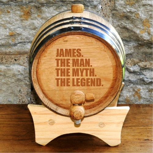 personalized wooden whiskey barrel