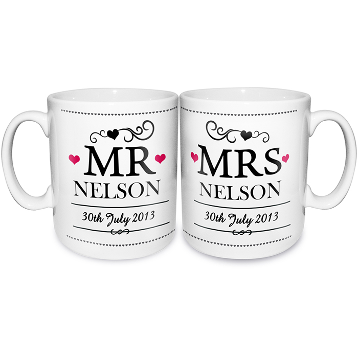 personalized mr and mrs mugs with wedding date