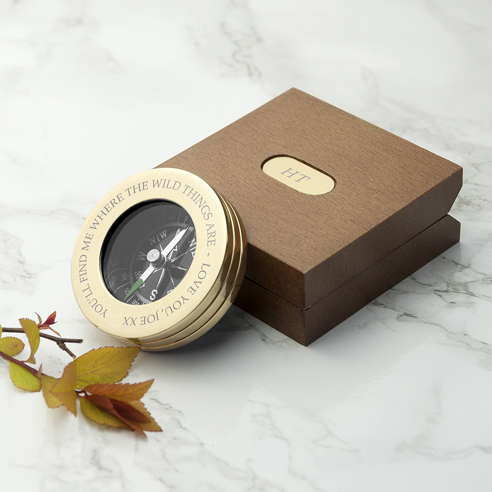 engraved anniversary gift - compass