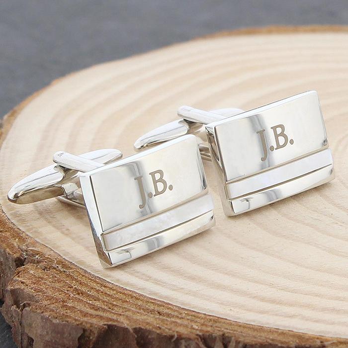 engraved pearl cufflinks