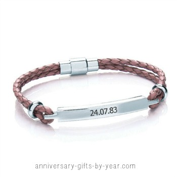 engraved anniversary gift - leather bracelet