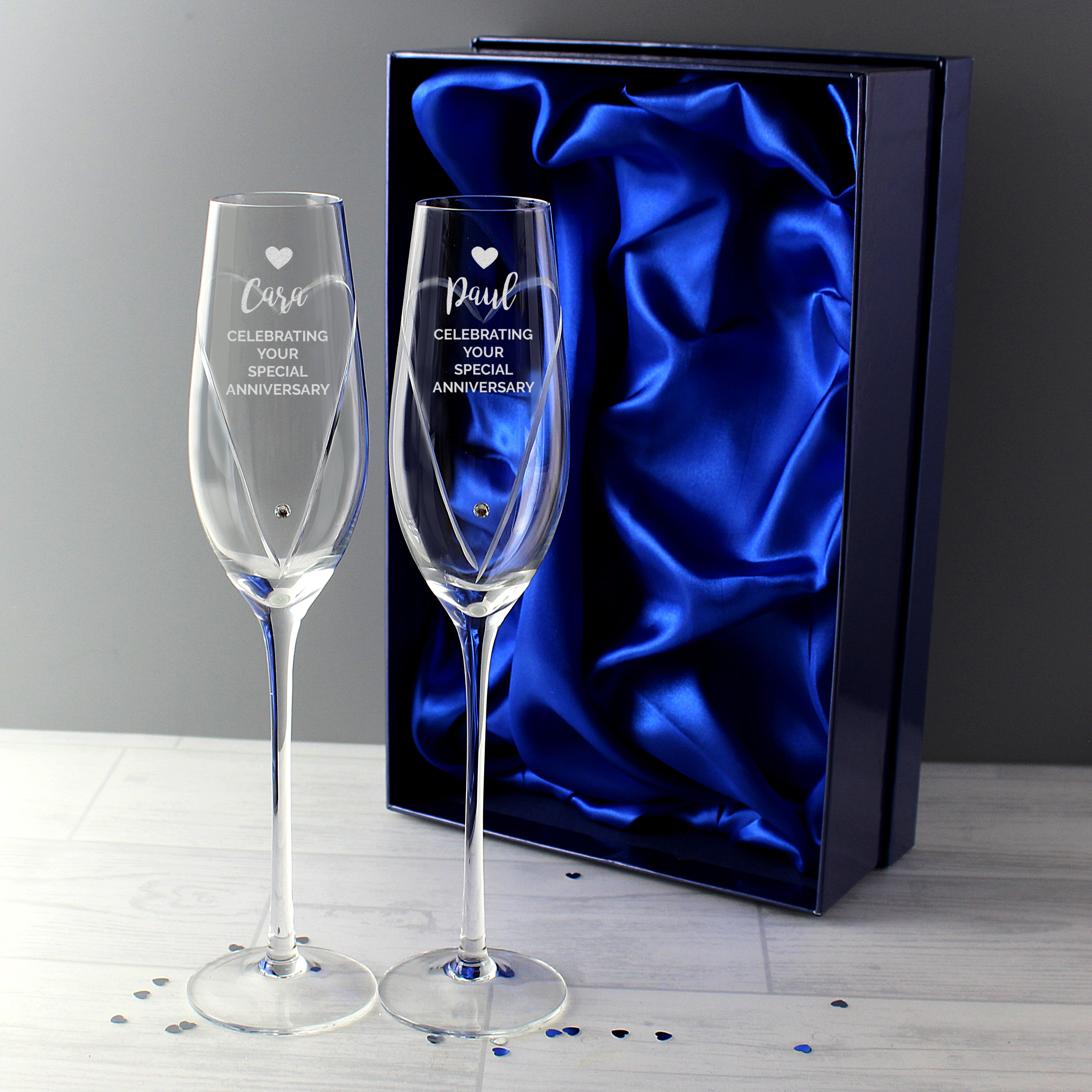 personalized 45th anniversary champagne glasses