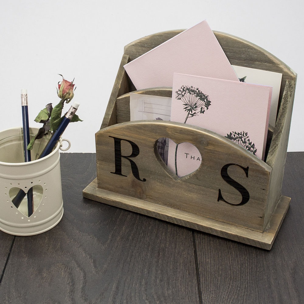 personalized couples' wooden letter rack