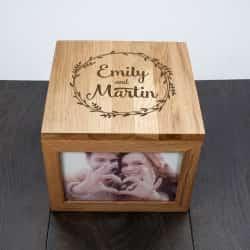 wooden anniversary photo and memory box