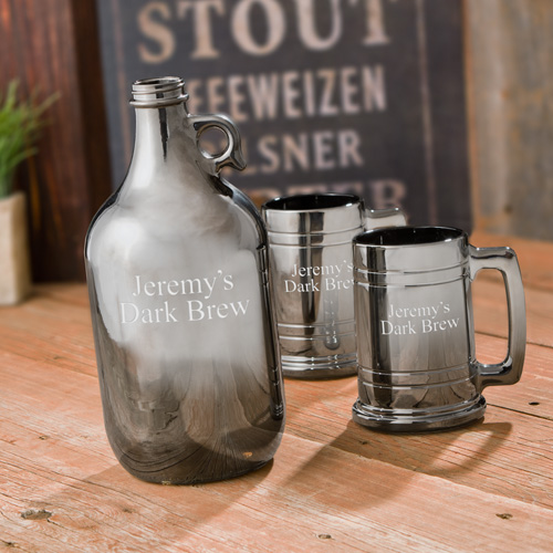 personalized metal growler set
