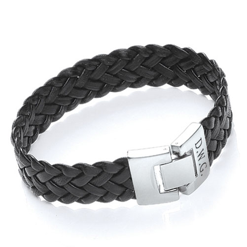 personalized mens leather anniversary bracelet