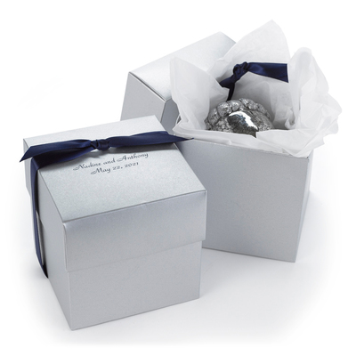 silver 25th anniversary favor boxes