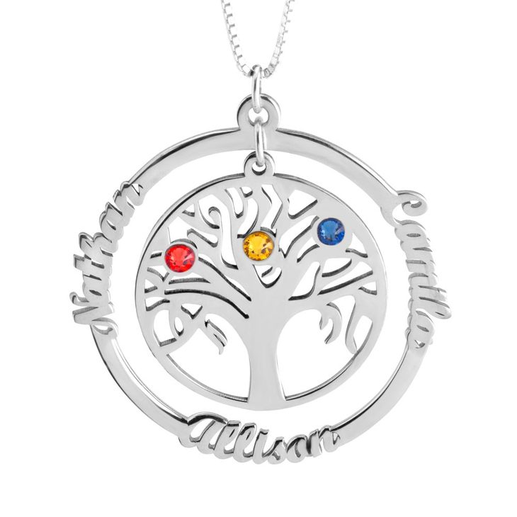 personalized family tree silver necklace